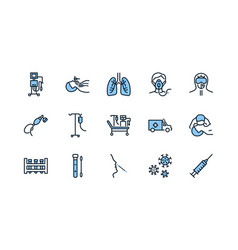 Artificial lung ventilation flat line icons set vector