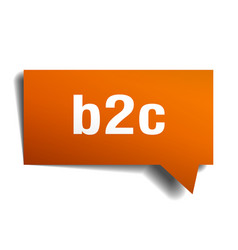 b2c orange 3d speech bubble vector image