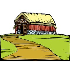 Barn on Hill vector image