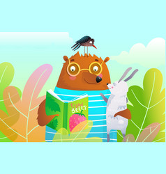 Bear and hare or rabbit reading book friends vector