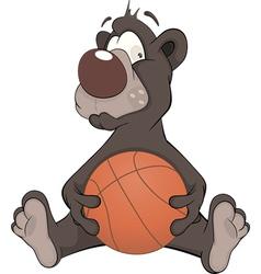 Bear with a ball cartoon vector