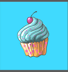 Blue cupcake with cherry on top hand vector
