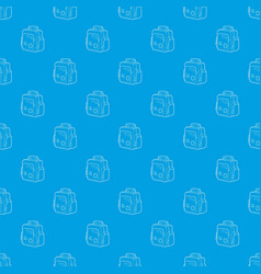 boy school bag pattern seamless blue vector image