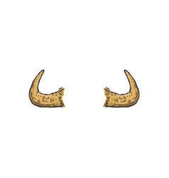 buffalo cow or antelope drawn horns cartoon vector image