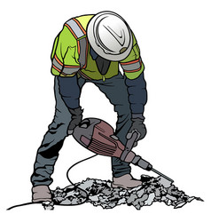 Builder worker with pneumatic hammer vector
