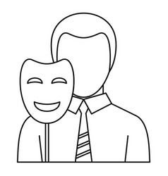 Businessman holding disguise mask icon vector