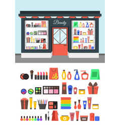 Cartoon beauty cosmetics store vector
