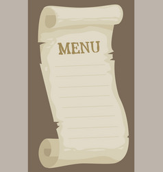 cartoon blank empty paper menu for restaurant vector image