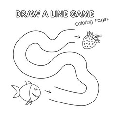 cartoon fish coloring book game for kids vector image