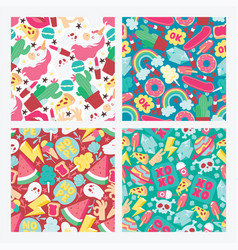 cartoon seamless pattern girlish accessories vector image