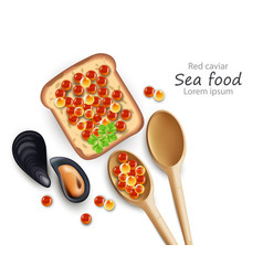 Caviar toast and wooden spoons realistic vector