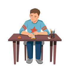 Child boy with smarphone sitting at table isolated vector
