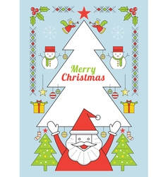 Christmas and santa clause line style poster vector