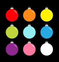 christmas ball set cute colorful rainbow round vector image