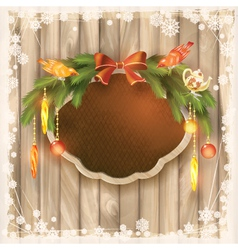 Christmas frame board garland ornaments birds vector image