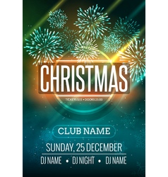 Christmas party poster design with fireworks light vector image