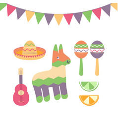 cinco de mayo festival in mexico icon set set of vector image