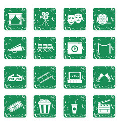 cinema icons set grunge vector image