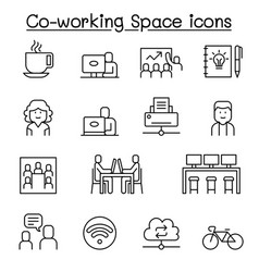 co working space icon set in thin line style vector image