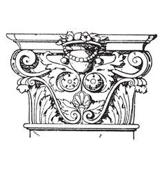 Corinthian pilaster capital colosseum vintage vector