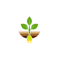 creative plug planet leaf dirt logo vector image