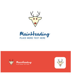 creative reindeer logo design flat color logo vector image