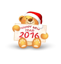 Cute Christmas teddy bear with the 2016 vector image