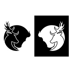 deer and buffalo cut out silhouette icon vector image