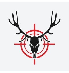 deer skull on red target vector image