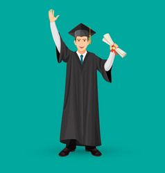 Degree graduate student in mantle gown holds vector