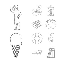 Design of pool and swimming symbol set of vector