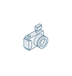 digital photo camera isometric icon 3d line art vector image