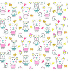 Doodle bears seamless pattern vector