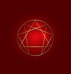 Enneagram icon sacred geometry golden sign vector