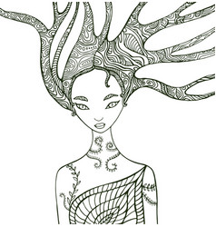fantasy forest woman coloring page vector image
