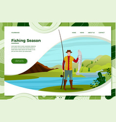 fisherman on river with catched fish vector image
