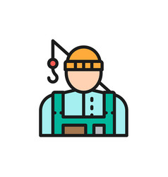 fisherman with fishing rod flat color line icon vector image