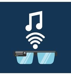 glasses technology music application media vector image