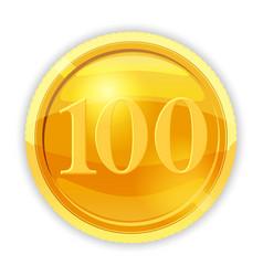 Gold coin value 100 vector
