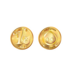 Golden coin one pig nose heads and tails for vector
