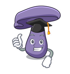 Graduation blewit mushroom character cartoon vector