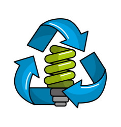 Green save bulb with recycling symbol vector