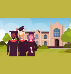 Group of mix race students in gown and cap vector