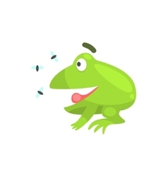 Happy Green Frog Funny Character Looking At vector image