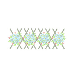 horizontal fence with flowers vector image