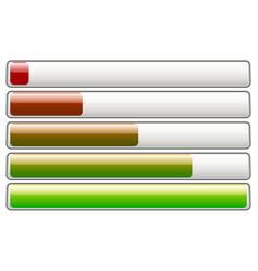 Horizontal loading progress bars fading colors w vector
