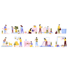 Householder cleaners family cleaning house daily vector