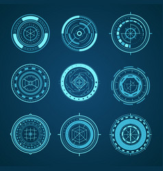 Hud interface futuristic graphic elements set vector