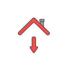 Icon concept arrow moving down under house roof vector