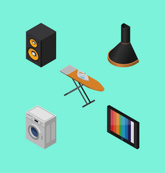 Isometric electronics set of laundry television vector